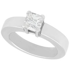 1.02 Carat Diamond and White Gold Solitaire Ring