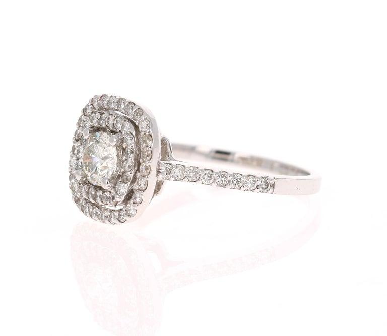 Modern 1.02 Carat Diamond Engagement Ring 14 Karat White Gold For Sale