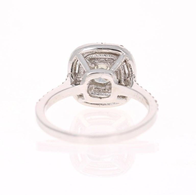 Round Cut 1.02 Carat Diamond Engagement Ring 14 Karat White Gold For Sale