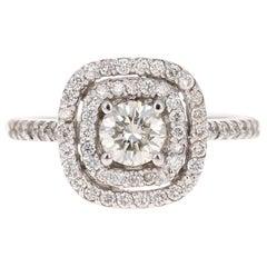 1.02 Carat Diamond Engagement Ring 14 Karat White Gold