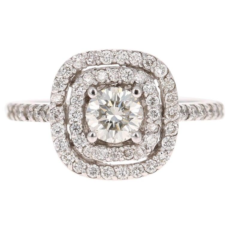 1.02 Carat Diamond Engagement Ring 14 Karat White Gold For Sale