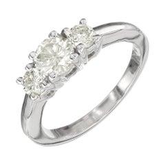 1.02 Carat Diamond Light Yellow Three-Stone Gold Engagement Ring