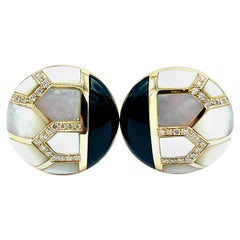 1.02 Carat Diamonds Onyx and Mother of Pearl Button Clip Earrings