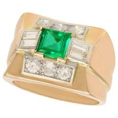 1.02 Carat Emerald and 1.05 Carat Diamond Gold Cocktail Ring