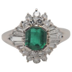 1.02 Carat Emerald and Diamond Ring in 18 Karat Gold