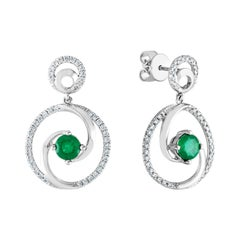 1.02 Carat Emerald Diamond Gold Dangle Swirl Earrings