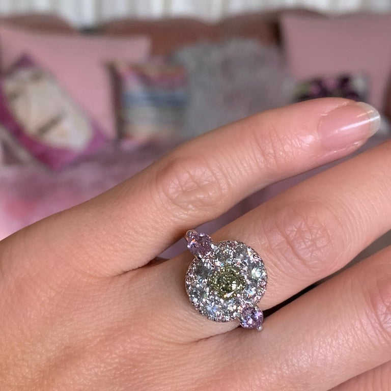 1.02 Carat Fancy Green, Grey, Pink Diamond, Unheated Violet Sapphire Pave Ring For Sale 10