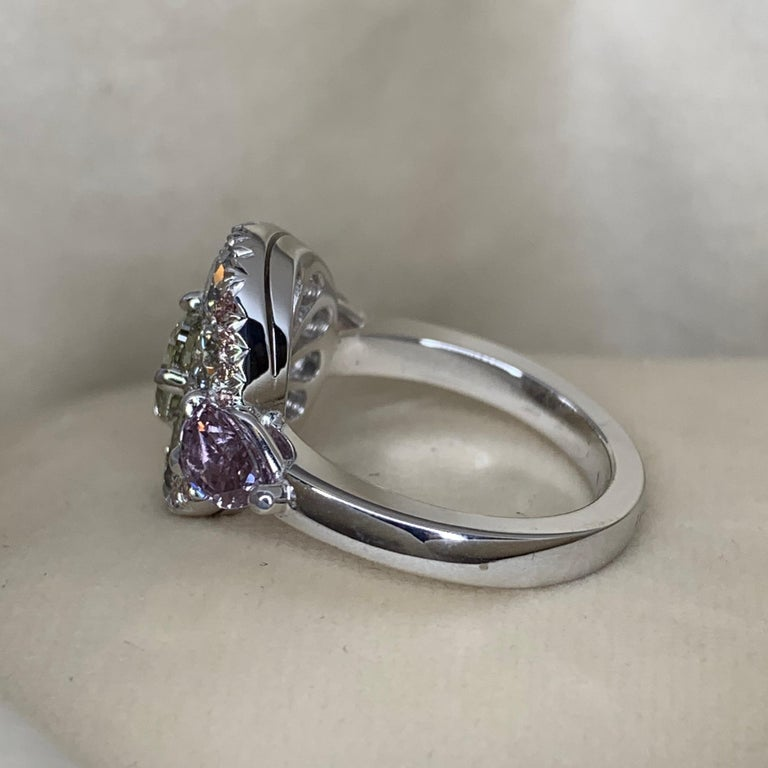 Women's 1.02 Carat Fancy Green, Grey, Pink Diamond, Unheated Violet Sapphire Pave Ring For Sale