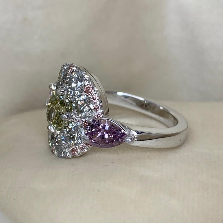 1.02 Carat Fancy Green, Grey, Pink Diamond, Unheated Violet Sapphire Pave Ring For Sale 1