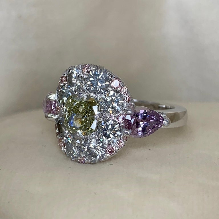 1.02 Carat Fancy Green, Grey, Pink Diamond, Unheated Violet Sapphire Pave Ring For Sale 2