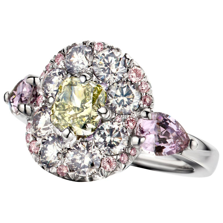 1.02 Carat Fancy Green, Grey, Pink Diamond, Unheated Violet Sapphire Pave Ring For Sale