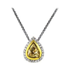 1.02 Carat Fancy Yellow Pear-Shaped Diamond Pendant on Chain