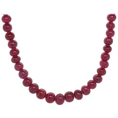 102 Carat Genuine Rondelle Ruby Beaded Necklace