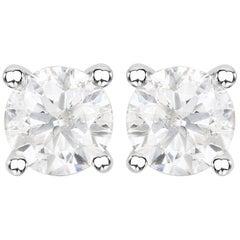 1.02 Carat Genuine White Diamond 14 Karat White Gold Stud Earrings