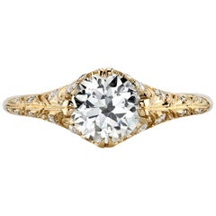 1.02 Carat GIA Certified Diamond Mounted in an 18 Karat Yellow Gold Mounting