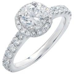 1.02 Carat GIA Graded Round Brilliant Cut Platinum Engagement Ring
