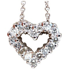 1.02 Carat Heart Natural Diamonds Necklace 14 Karat Open Frame