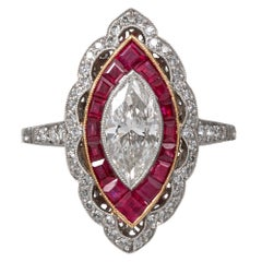 1.02 Carat Marquis Diamond and Ruby Ring