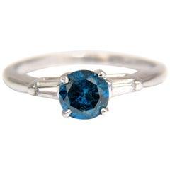 1.02 Carat Metallic Blue Diamond Ring 14 Karat
