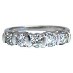 1.02 Carat Natural Round Diamonds Channel Band Platinum Ring