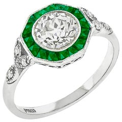 1.02 Carat Old European Cut Diamond Emerald Engagement Ring