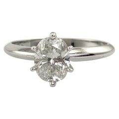 1.02 Carat Oval Diamond Solitaire Ring, 14 Karat White Gold VS1, K