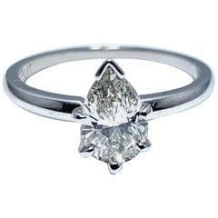1.02 Carat Pear Brilliant Cut Diamond and Platinum Engagement Ring
