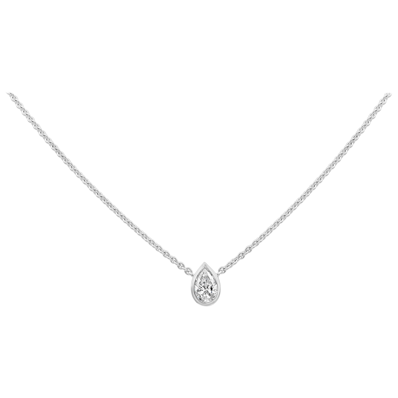 1.02 Carat Pear Shape Diamond Solitaire Pendant Necklace