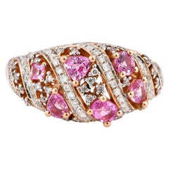 1.02 Carat Pink Sapphire Ring in 18 Karat Rose Gold with Diamonds