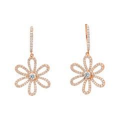 1.02 Carat Round Diamond Dangle Flower Earrings in 18k Rose Gold