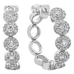 1.02 Carat Round Diamond Halo Hoop Earrings