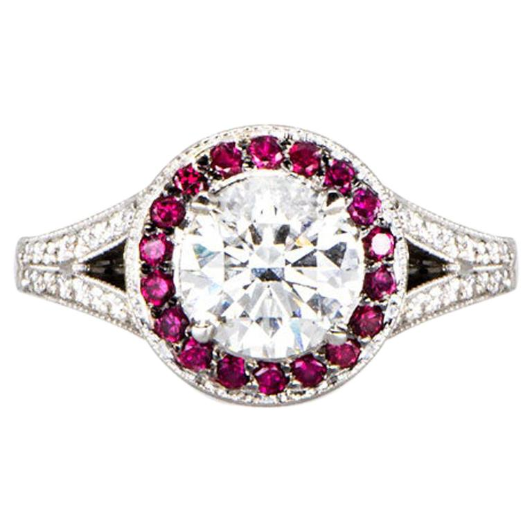 1.02 Carat Round Diamond Ruby Cluster Ring Platinum Natalie Barney