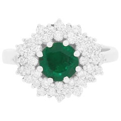 1.02 Carat Round Emerald and Diamond Ring