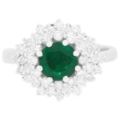 1.02 Carat Round Emerald and Diamond Multiple Halo Ring 14K White Gold