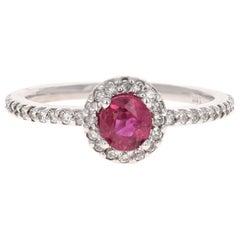 1.02 Carat Ruby Diamond 14 Karat White Gold Engagement Ring