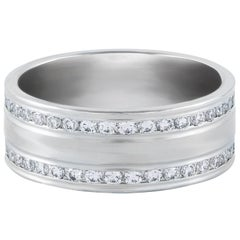1.02 Carat Total Diamond and Platinum Men's Wedding Band