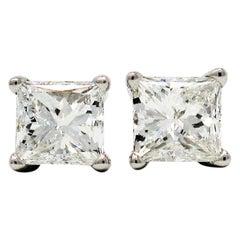 1.02 Carat Total Princess Cut Solitaire Diamond Stud Earrings in Platinum VS1