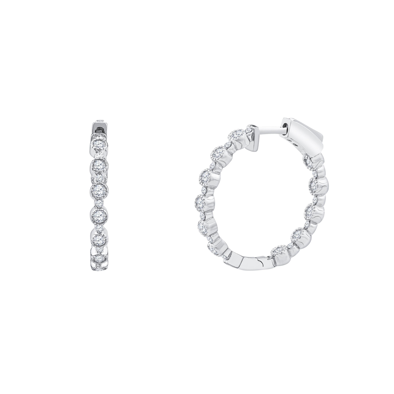 1.02 Carat Total Weight Diamond Bezel Set Hoop Earrings, 18 Karat