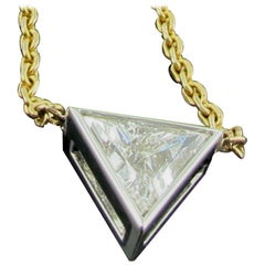 1.02 Carat Trillion Cut Diamond Bezel Set Pendant in 18kt White and Yellow Gold