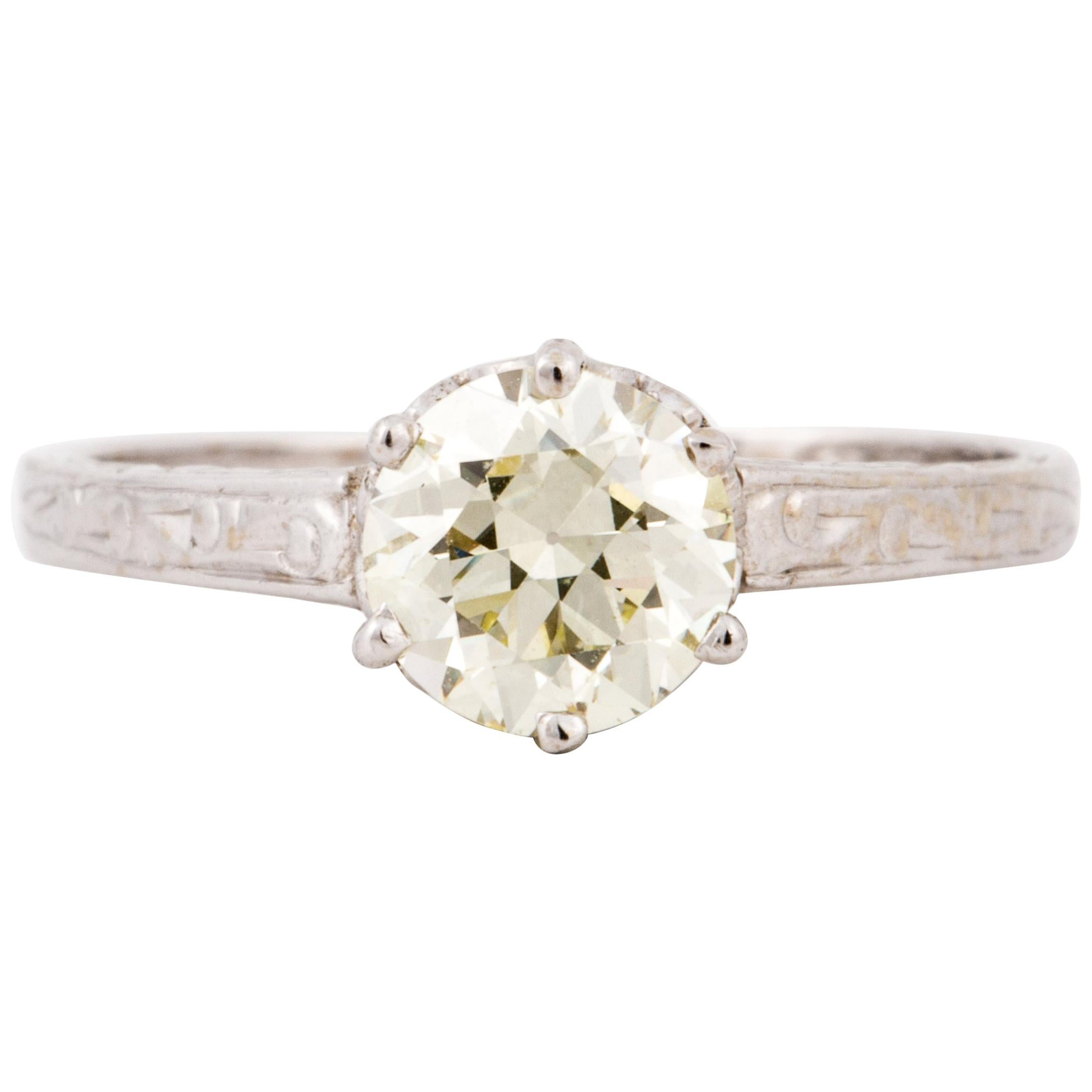 1.02 Old European Cut Diamond Solitaire Ring