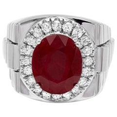 10.20 Carat Natural Diamond and Ruby 18 Karat Solid White Gold Men's Ring