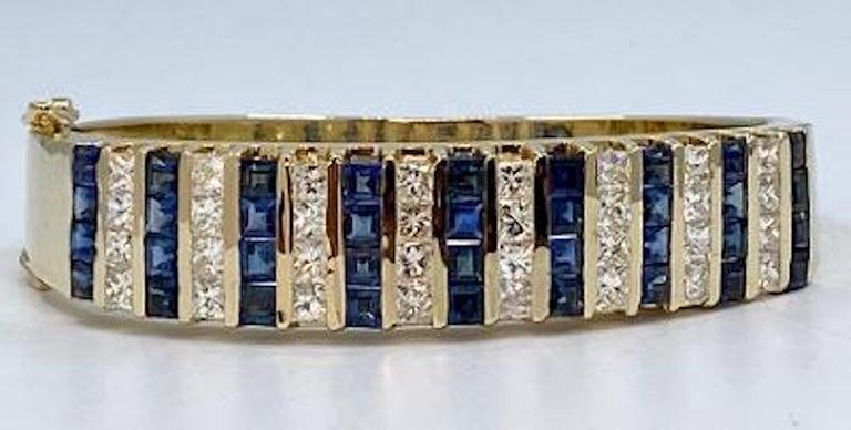 Women's 10.20 Carat Princess Cut Diamond and Sapphire Yellow Gold Bangle Bracelet For Sale