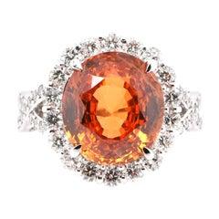 10.21 Carat, Natural Spessartine Garnet and Diamond Ring Set in Platinum