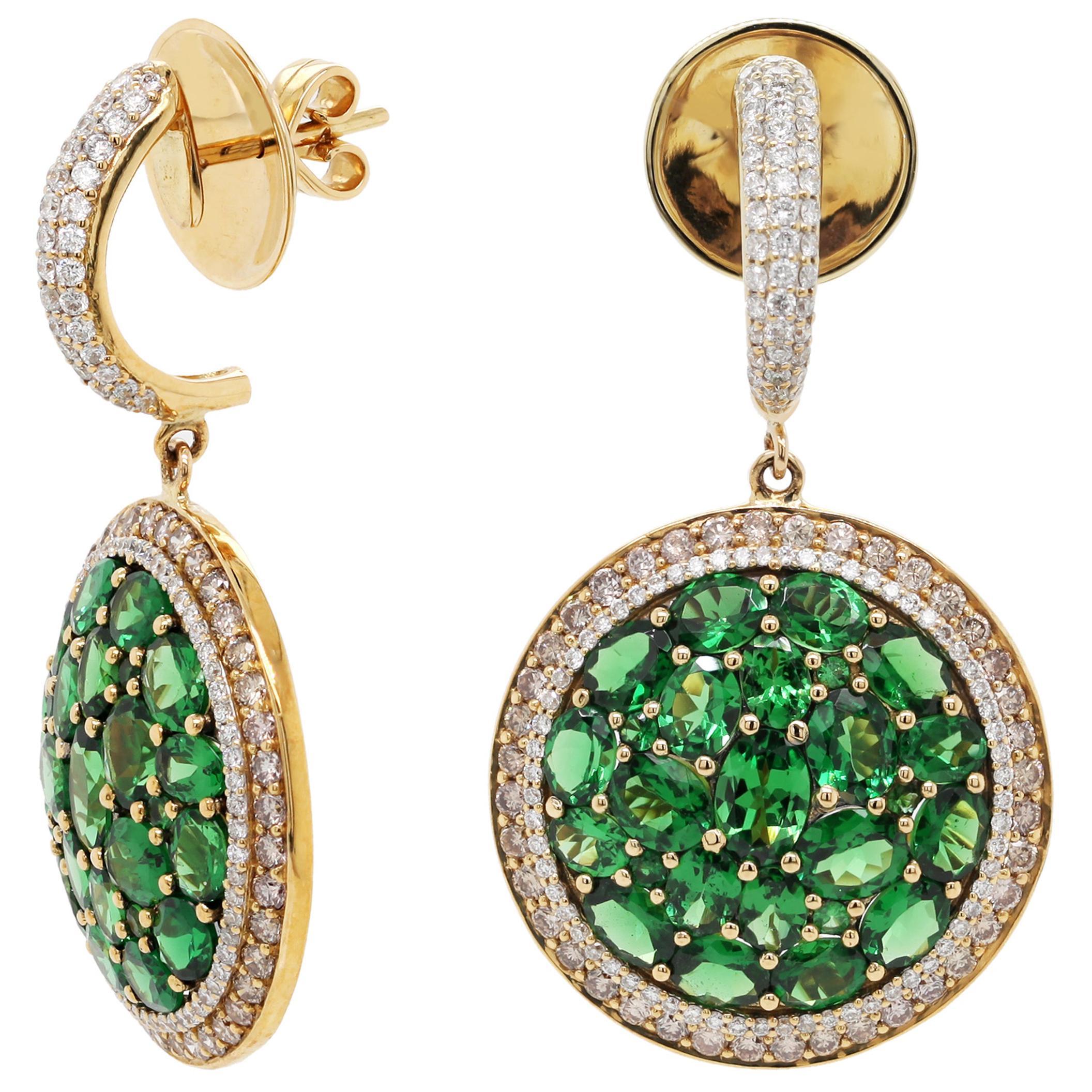 10.21 Carat Tsavorite Diamond 18 Karat Yellow Gold Dangle Earring