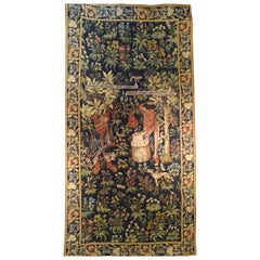 1021, Pretty Vintage French Aubusson Style Halluin Jaquar Tapestry