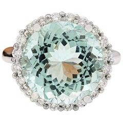 10.23 Carat Natural Aquamarine 18 Karat Solid White Gold Diamond Ring