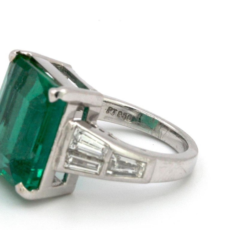Emerald Cut 10.23 Carat Natural Columbian Emerald and Diamond Ring For Sale