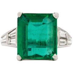 10.23 Carat Natural Emerald and Diamond Ring