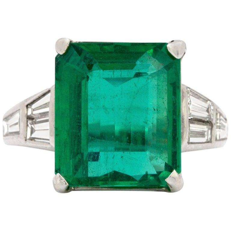 10.23 Carat Natural Columbian Emerald and Diamond Ring For Sale