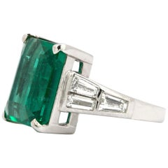 10.23 Carat Natural Emerald Set with Baguette Diamonds in a Platinum Ring